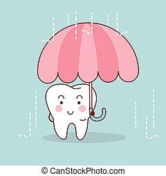 caricatura, dente, com, guarda-chuva