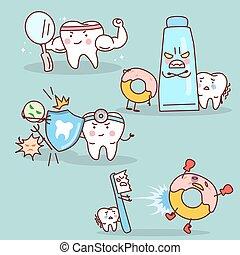 caricatura, dente, com, saúde, conceito