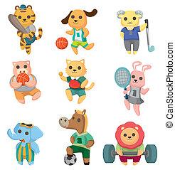 caricatura, deporte animal, jugador, iconos, conjunto