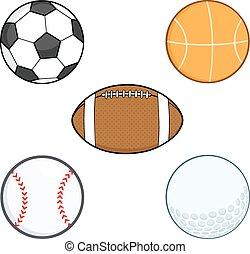 caricatura, deporte, balls., colección, conjunto