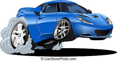 caricatura, deporte, coche
