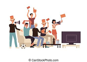 caricatura, deporte, gente, ventilador, grupo, engranaje, ...