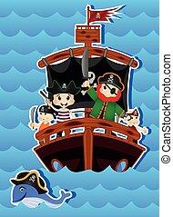 caricatura, desenho, seu, piratas