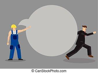 caricatura, desligado, trabalhador, profissional, ilustração negócio, vetorial, contar
