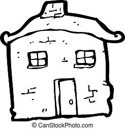 caricatura, desmoronamiento, viejo, casa