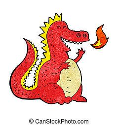 caricatura, despeça respirar, dragão