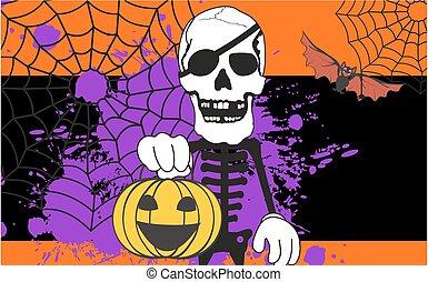 caricatura, dia das bruxas, esqueleto, fundo, abóbora