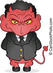 caricatura, diablo, mal, empresa / negocio, charact
