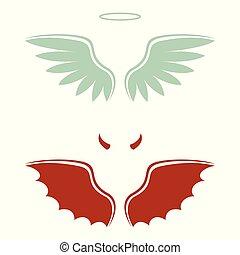 caricatura, diablo, y, ángel, bueno y malo, opción, alas, cuernos, y, halo