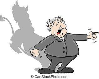 caricatura, diabo, gritando saliência