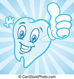 caricatura, dientes, arriba, pulgares