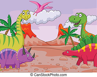caricatura, dinosaurio