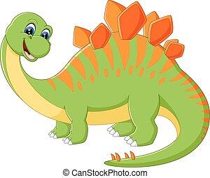 caricatura, dinosaurio, lindo