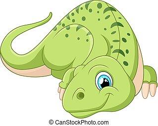 caricatura, dinosaurio, posar