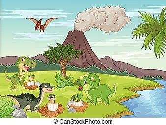 caricatura, dinossauro, nesting, chão