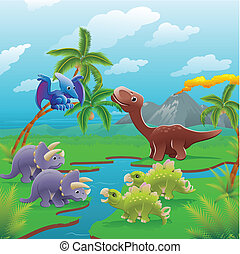 caricatura, dinossauros, scene.