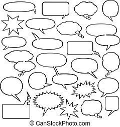 caricatura, discurso, burbujas