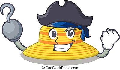 caricatura, diseño, pirata sombrero, verano, mano, gancho, uno, carácter