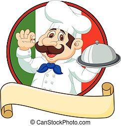 caricatura, divertido, chef, con, un, bigote