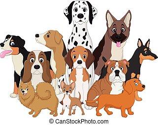 caricatura, divertido, conjunto, perros