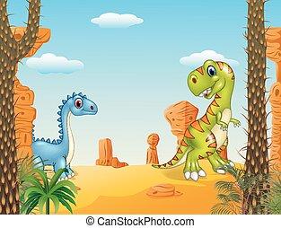 caricatura, divertido, dinosaurio, colección