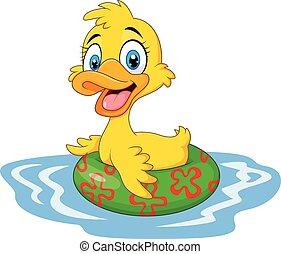 caricatura, divertido, flotar, pato