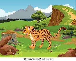 caricatura, divertido, guepardo, selva