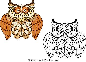 caricatura, divertido, marrón, búho, pájaro