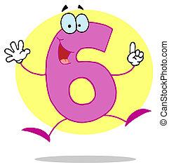 caricatura, divertido, numbers-6
