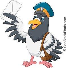 caricatura, divertido, paloma, pájaro, deliverin