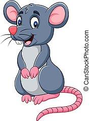 caricatura, divertido, ratón