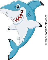 caricatura, divertido, tiburón, posar