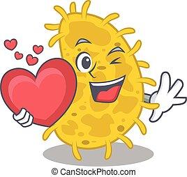 caricatura, doce, bactérias, personagem, spirilla, estilo, coração