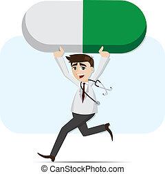 caricatura, doctor, proceso de llevar, medicina, píldora