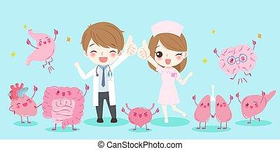 caricatura, doctors, con, órgano