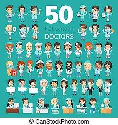 caricatura, doctors, grande, colección