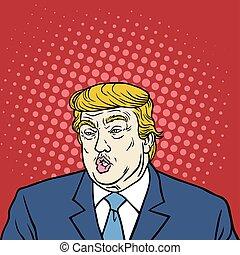 caricatura, donald, triunfo, arte pop
