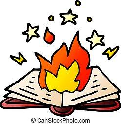 caricatura, doodle, feitiço, livro