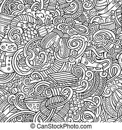 caricatura, doodles, inverno, estação, seamless, padrão