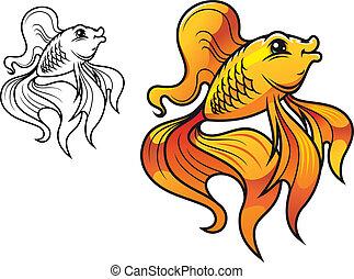 caricatura, dorado, pez