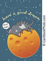 caricatura, dormir, style., lua, gato