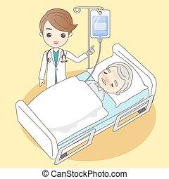 caricatura, doutor, com, homem velho