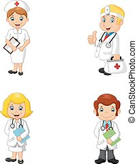 caricatura, doutores enfermeiras