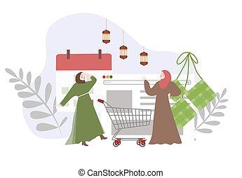 caricatura, eid, caracteres, musulmán, en línea, estilo, vector., celebrar, mujeres, moderno, compras, feriado, plano