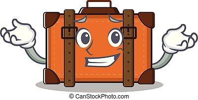 caricatura, el hacer muecas, mascota, maleta