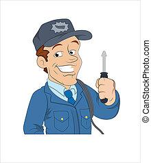 caricatura, electricista
