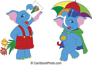 caricatura, elefantes