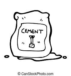 caricatura, embolsar de, cemento