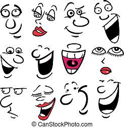 caricatura, emociones, ilustración