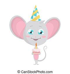 caricatura, emoticon, cute, cake., emoji, isolado, rato, divertimento, personagem, estoque, cinzento, adesivos, cônico, vetorial, emoção, ilustrações, pose., situação, chapéu